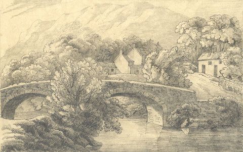 Rural Hamlet with Bridge & Stream - Original 19th-century graphite drawing