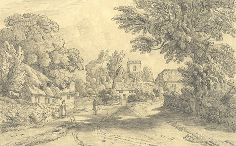 Rural Village Scene with Church & Figures - Original 19th-century graphite drawing