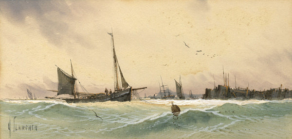 Arderne Clarence, Fishing Boats off Coast - Original early 20th-century watercolour painting