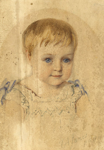 Sir Thomas Alfred Jones PRHA, Portrait of Young Girl - 1882 watercolour painting