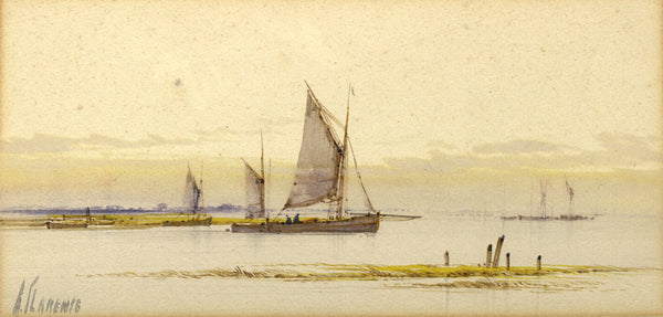 Arderne Clarence, Sailing Boats on the Estuary - Original early 20th-century watercolour painting