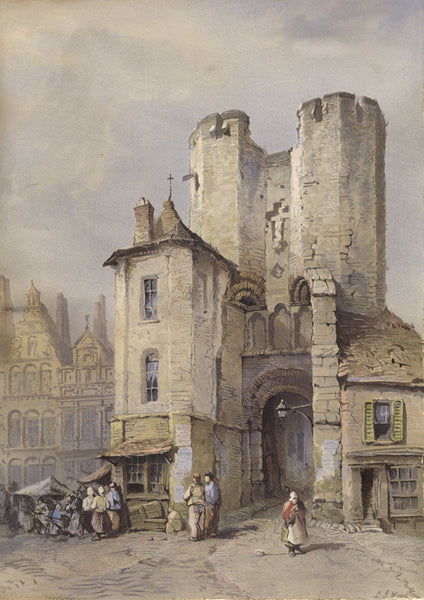 C.H. Horne after Lewis John Wood, Town Square, France - 19th-century lithograph