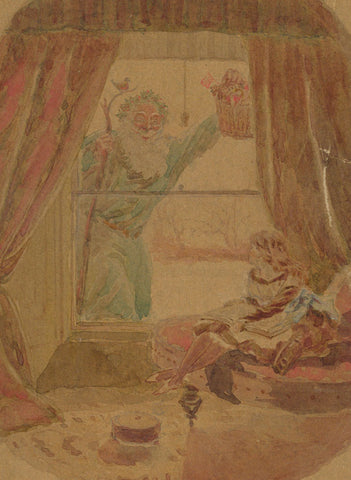 A Visit from Santa Claus - Original early 20th-century watercolour painting