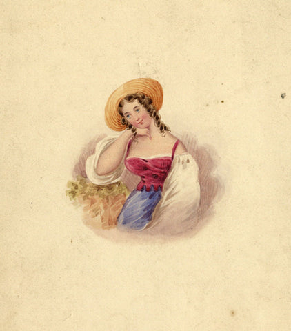 Rustic Girl with Hat - Original 19th-century watercolour painting