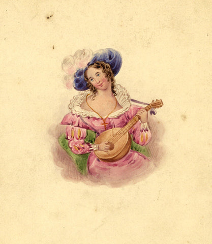 Girl in Hat with Lute - Original 19th-century watercolour painting
