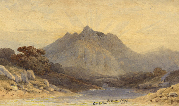 Charles Penley, Continental Mountain at Sunrise - Original 1876 watercolour painting