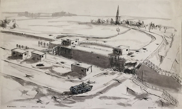 Robert Warren, WWII Tank at Panheel Lock 1944, Belgium - 1946 pen & ink drawing