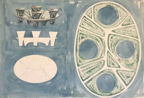James Arnold Martin, 1950s Ceramic Plate & Cups Design - Mid-century watercolour