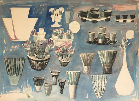 James Arnold Martin, 1950s Ceramic Vase Designs - Mid-20th-century watercolour