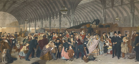 After William Powell Frith, RA, The Railway Station - Mid-20th-century mezzotint