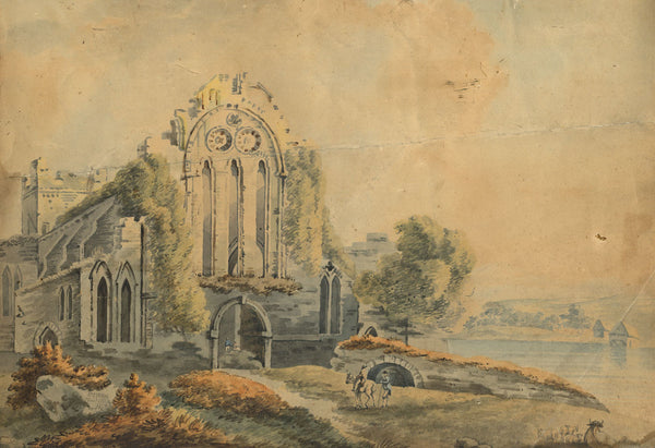 A. Power, Picturesque Abbey Ruin, Maidstone - Original 1801 watercolour painting