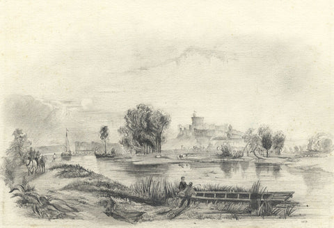 W.P., Windsor Castle across the Thames - Original 19th-century graphite drawing