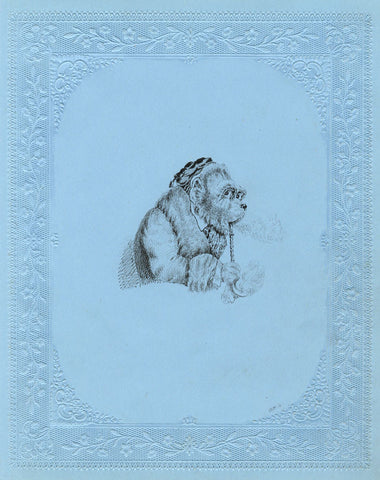 Anthropomorphised Smoking Dog - Original 19th-century pen & ink drawing