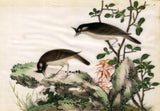 Antique 19th-century Chinese Painting on Pith - Birds on Rock with Foliage