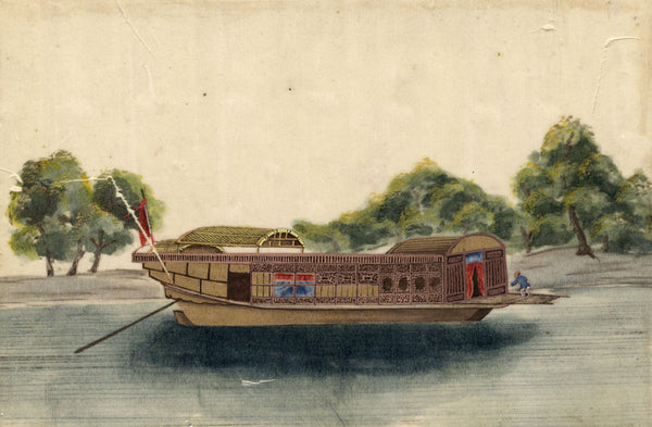Antique 19th-century Chinese Watercolour Painting on Pith - Chinese Junk Boat