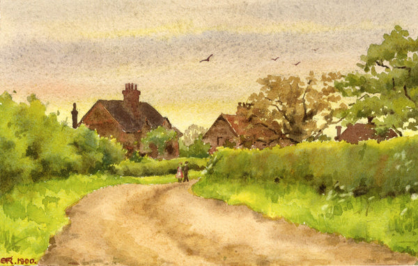 A.K. Rudd, Stroll on a Country Lane - Original 1900 watercolour painting