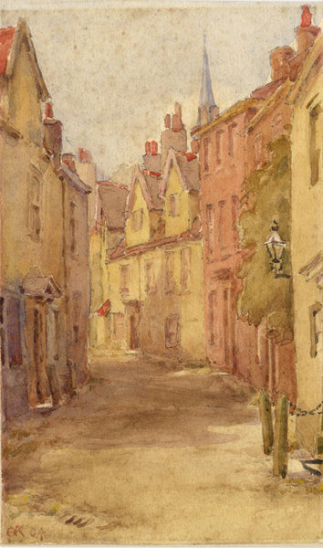 A.K. Rudd, Old Town Street with Spire - Original 1904 watercolour painting