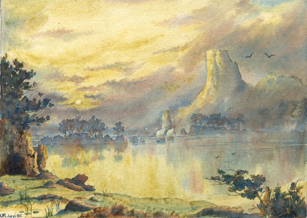 A.K. Rudd, Virgil Ships of Aeneas after the Storm - Original 1897 watercolour painting