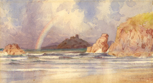 A.K. Rudd, Coastal View with Rainbow - Original late 19th-century watercolour painting