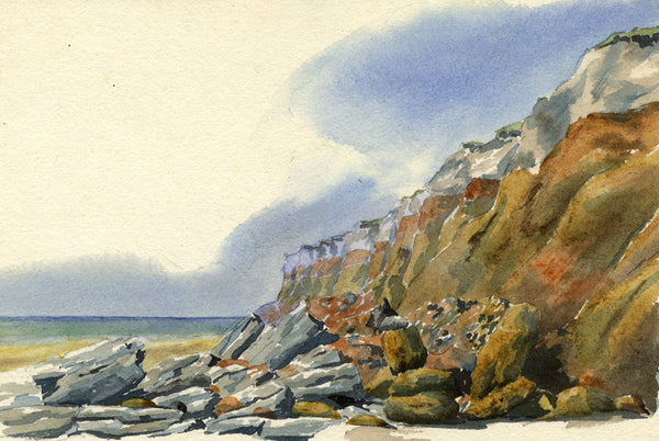 A.K. Rudd, Coastal Cliff - Original late 19th-century watercolour painting