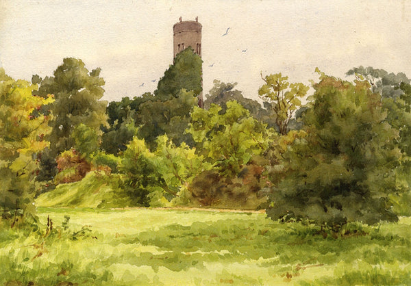 A.K. Rudd, Landscape with Folly Tower - Original late 19th-century watercolour painting