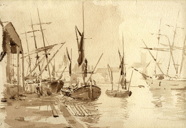 A.K. Rudd, Harbour with Sailing Boats in Sepia - Original late 19th-century watercolour painting