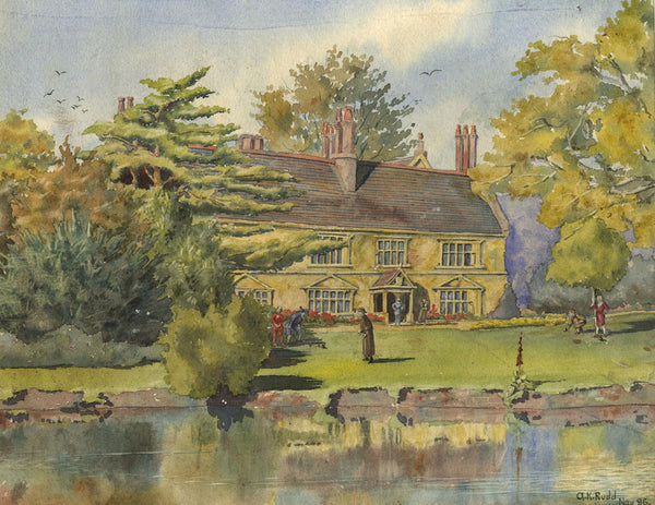 A.K. Rudd, Jacobean Country House with Lawn Bowls - Original 1896 watercolour painting