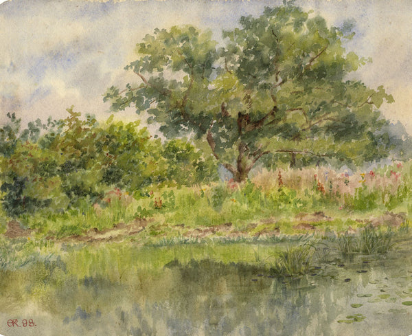 A.K. Rudd, Summer View with Wildflowers - Original 1898 watercolour painting