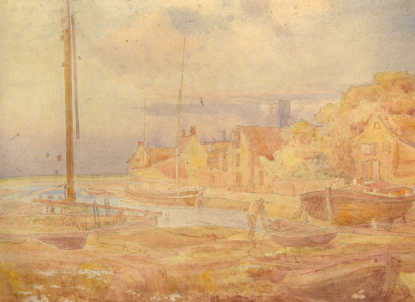 A.K. Rudd, Harbour View - Original late 19th-century watercolour painting