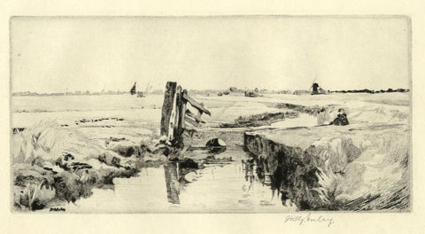 James Robert Granville Exley RE, Norfolk Broads Landscape - Early C20th etching
