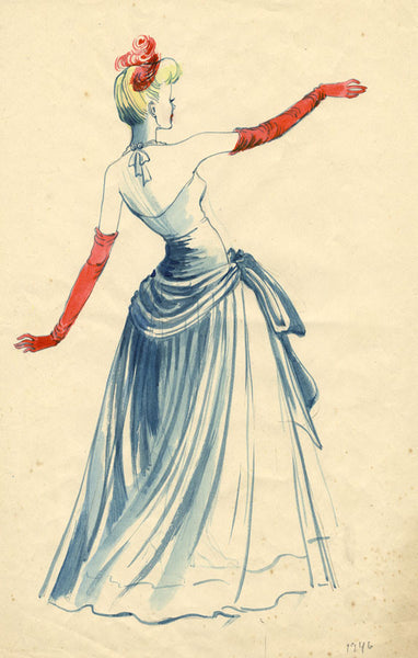 C. Keeling, 1940s Vintage Fashion Evening Dress Design 1946 watercolour painting