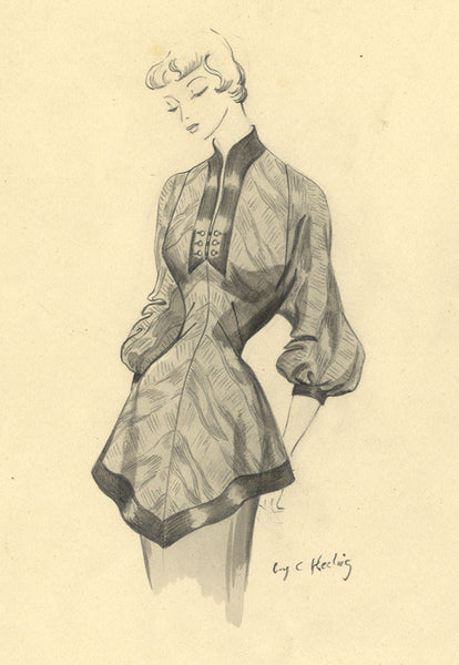 C. Keeling, 1940s Vintage Fashion Blouse Design Mid-century watercolour painting