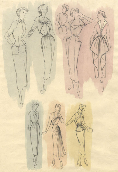 C. Keeling, 1940s Vintage Fashion Model Designs Mid-century watercolour painting