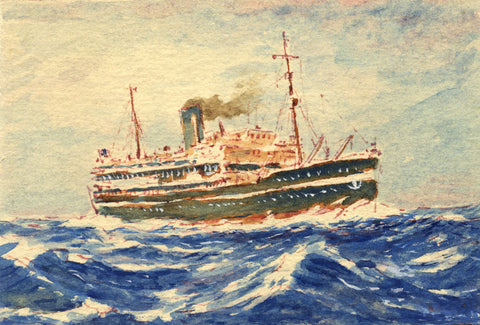 Steamship Liner Miniature - Original mid-20th-century watercolour painting