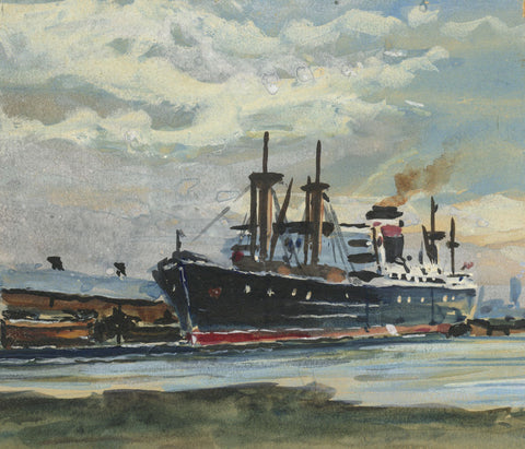 Steamship in Dock Miniature - Original mid-20th-century watercolour painting