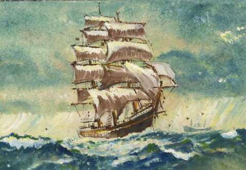 Tall Ship Sailing Boat Miniature -Original mid-20th-century watercolour painting