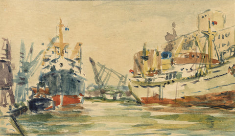 Marine Docks Miniature - Original mid-20th-century watercolour painting