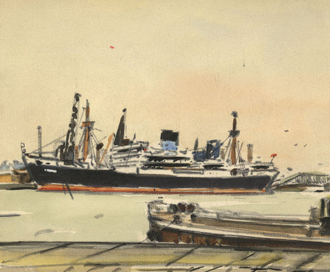 Steamship Liner in Docks Miniature - Mid-20th-century watercolour painting