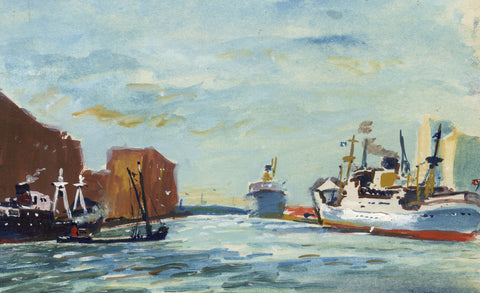 Steamships Departing Harbour Miniature - Mid-20th-century watercolour painting