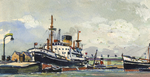 Steamship at Harbour Miniature - Original mid-20th-century watercolour painting