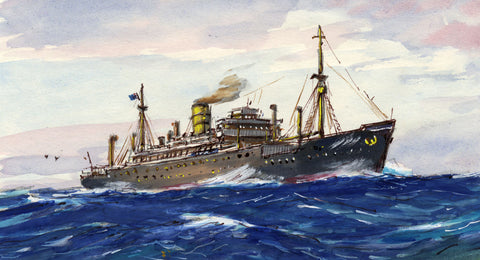 Steamship Liner at Sea Miniature -Original mid-20th-century watercolour painting