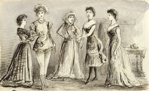 J.D. Croome, Victorian High Society Ladies - Original 1882 pen & ink drawing