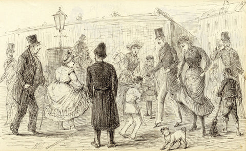 J.D. Croome, Victorian Street Scene with Policeman - 1882 pen & ink drawing
