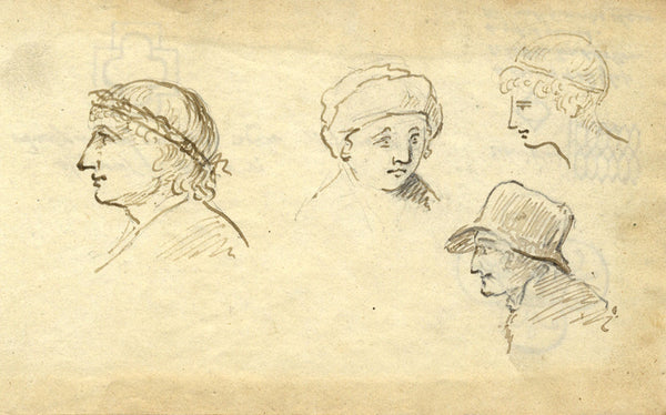 Circle of John Varley, Figures after Teniers - Early 19th-century ink drawing