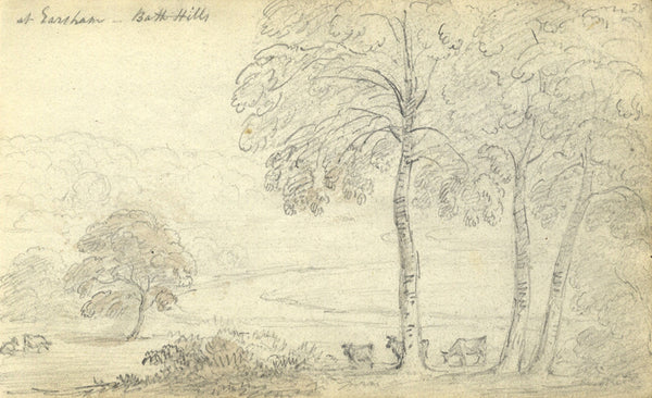 Circle of John Varley, Bath Hills, Earsham - Early 19th-century graphite drawing