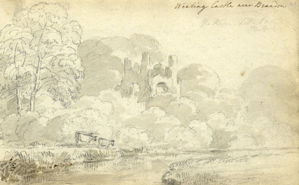 Circle of John Varley Weeting Castle Brandon Early 19th-century graphite drawing