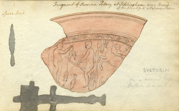 Circle of John Varley, Roman Pottery, Icklingham -Early 19th-century watercolour