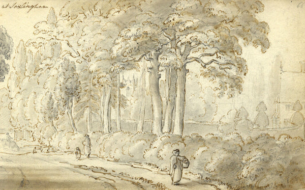 Circle of John Varley, Figures Saxlington Norfolk Early 19th-century ink drawing