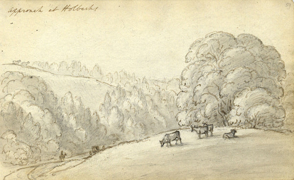 Circle of John Varley, To Holbecks House Suffolk -Early 19th-century ink drawing