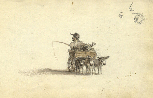 Circle of John Varley, Mule-Drawn Cart - early 19th-century watercolour painting